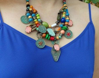 Multi-Coloured Beaded Tribal Statement Necklace