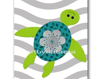 Digital Print Printable Art Baby Boy Nursery Turtle Wall Decor Children Art Kids Wall Art Baby Boy Room Decor 8x10 11X14 INSTANT DOWNLOAD