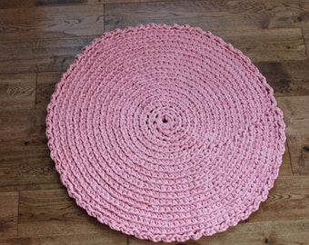 "Rag Rug, Peach 27.5"" Crocheted Round Rag Rug, Cottage Chic Decor, Shabby Chic, Crochet Rag Rug, Peach Rug, Nursery Rug"