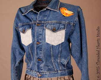Bling on an upcycled Blue Jean Jacket