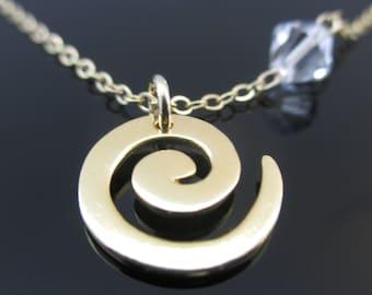 Spiral Gold Necklace, Spiral Necklace, Necklace Spiral, Gold Spiral Necklace, Spiral Pendant Necklace, Spiral Pendant, Gold Spiral Pendant
