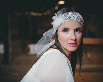 Arabel- Cystal silk, organza  headpiece