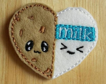 Milk and Cookie Love Heart Paper Clip