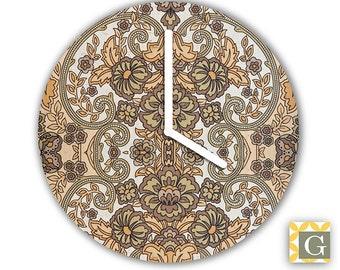 Wall Clock by GABBYClocks -  Vintage Brown Wallpaper
