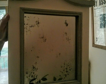 Distressed Wood Framed Antiqued Mirror