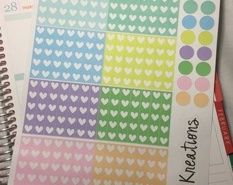 Functional heart check lists and dots: pastels