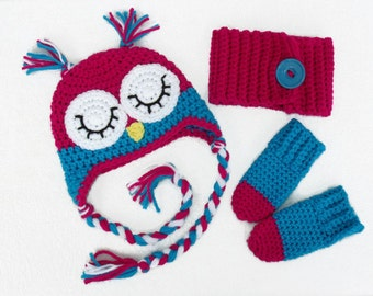 Tuque pink owl, neck warmer and mittens, 3 piece set for baby 0-3 months.