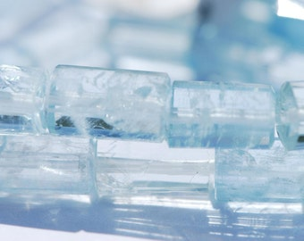Aquamarine beads, Natural color light blue beryl, hexagonal prisms, 15 inches, BD0449