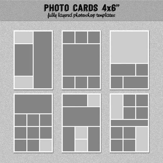 6 photo card templates 4x6 set 2 instagram collage blog board storyboard photoshop. Black Bedroom Furniture Sets. Home Design Ideas