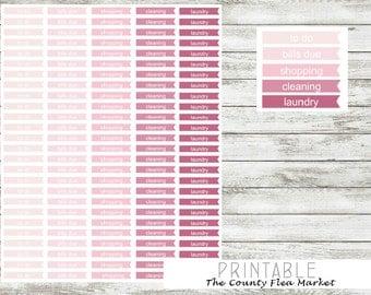 Planner Stickers, Ombre, Printable, Digital, Erin Condren Vertical, Headers, Chores, Banners