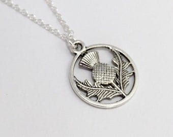 Silver Thistle Necklace/Outlander Thistle Necklace/Antique Silver Thistle Necklace/Outlander Necklace/Scottish Thistle Necklace