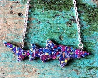 Shark Necklace / Ragged Tooth Shark Necklace - Geo Speckle