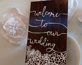 Welcome Wedding Sign, Photo Prop, Garden Wedding, Outdoor Wedding Sign