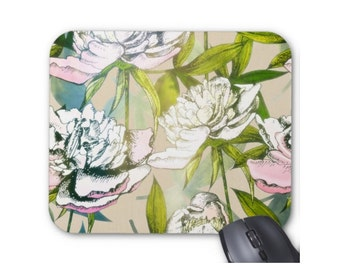 Modern Floral Mouse Pad, Colorful Flowers/Art Print Mousepad