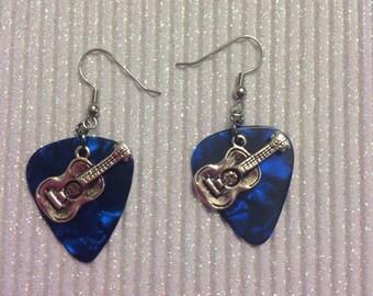 Dark blue fender guitar pic earrings