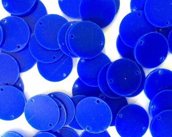 """2 Hole Acrylic Disc - BLANK - 1.25"""" Across - 2 Holes for Bangle Making, Necklace or Keychain, Jewelry Making - Royal Blue"""