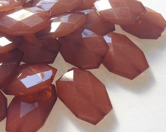 35x24mm Large WARM CARAMEL faceted acrylic nugget beads
