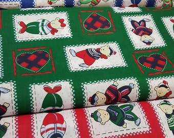 Bears and hearts fabric. Ideal for Christmas. very cute. four colours!