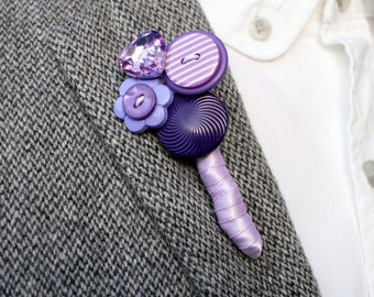 Purple boutonnière - Purple buttonhole - Wedding Buttonholes - Mens Wedding boutonnières - Groom boutonnières - Wedding Accessories
