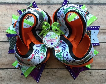"BIG over 6"" Halloween Boutique Bow - Big Halloween Twisted Boutique Bow - Big Halloween Bow - Halloween Bow - Halloween Bows"