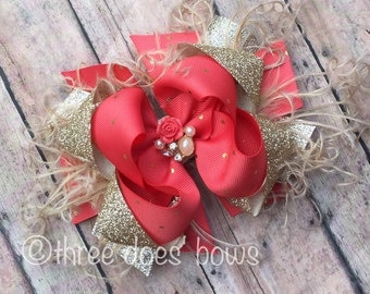 Coral Bow - Coral and Gold Ott Boutique Bow - Coral and Gold Boutique Bows - Coral and Gold Hair Bows - OTT Bows - coral OTT Bows - coral