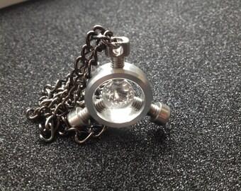 Quartz ball pendant necklace
