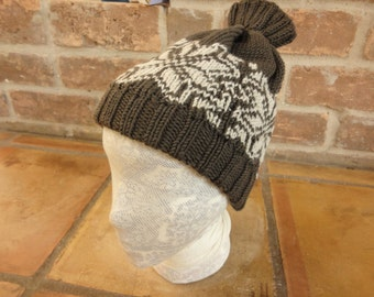 Super warm Fair Isle style hand knit hat