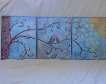 Love Birds , Triptych Wall Hanging