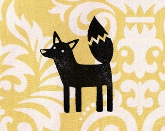 Graphic Fox Stamp: Wood Mounted Rubber Stamp