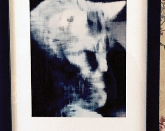 Portrait of Grey Cat with waterpaper effect framed and matted  Ready to Hang Makes a great holiday gift