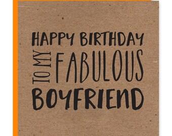 Fabulous boyfriend birthday card | Fab boyfriend | Recycled birthday card for him