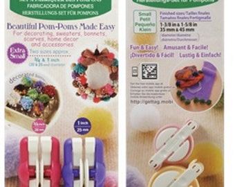 Set of 2 packs of Clover Pom-Pom Makers - Extra Small and Small