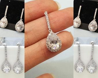 Set of 5, Four Earrings, AAA Cubic Zirconia Tear Drop Wedding bridal Earrings, CZ bridesmaid earrings gifts