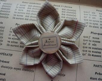 "Kanzashi brooch flower printed fabric school notebook ,  cabochon ""Thank you Mistress "" - Mistress Gift"