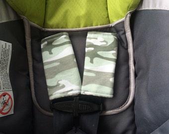Camo car seat strap covers, car seat belt covers, baby bib