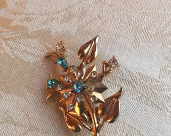 Light Blue  & Rhinestone Brooch