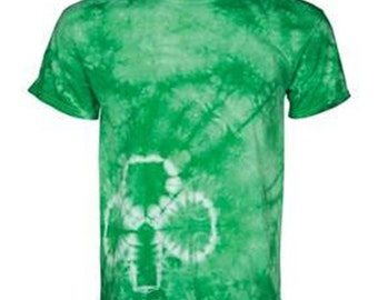 St Patrick's Day Tie Dye Shamrock on Side Pat's Patty Men's Tee Shirt
