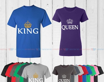 King & Quenn - Matching Couple Shirts - His and Her T-Shirts - Love Tees