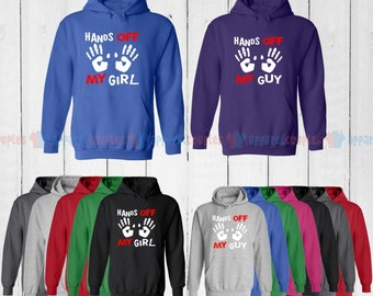 Hands off She is Mine & Hands off He is Mine - Matching Couple Hoodie - His and Her Hoodies - Love Sweaters
