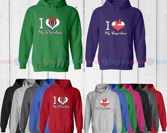 I Love My Girlfriend & I Love My Boyfriend - Matching Couple Hoodie - His and Her Hoodies - Love Sweaters