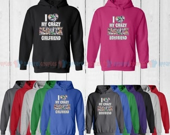 I Love My Redneck Boyfriend & I Love My Redneck Girlfriend - Matching Couple Hoodie - His and Her Hoodies - Love Sweaters