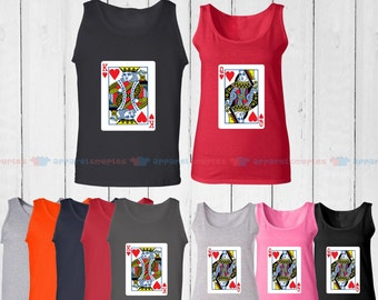 King of Hearts & Queen of Hearts - Matching Couple Tank Top - His and Her Tank Tops - Love Tank Tops