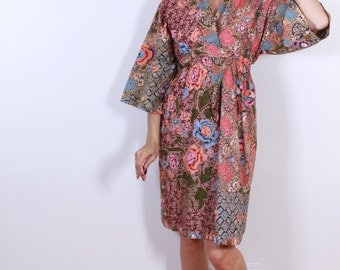 Cotton 1960s Asian Inspired Lounge Dress