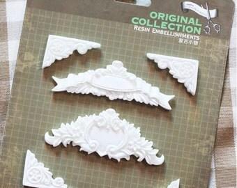Resin Architecture Vintage Embellishment Appliques - Resins Corners 6 pieces