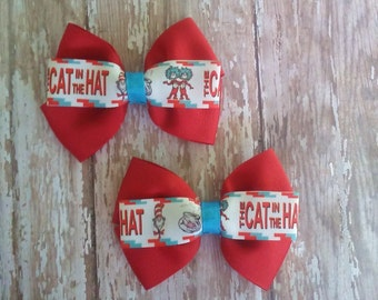 cat in the hat hair bow set or bow tie 4 inches