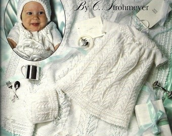Christening Layette Vintage Knitting Pattern Newborn Gown, Blanket, Bonnet, Booties