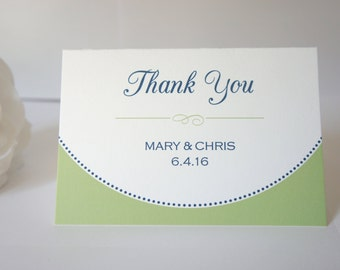 Thank You Cards - Modern Wedding Thank You Card, Green Thank You Card, Blue and Green, Thank You Note, Personalized Thank You Card - DEPOSIT