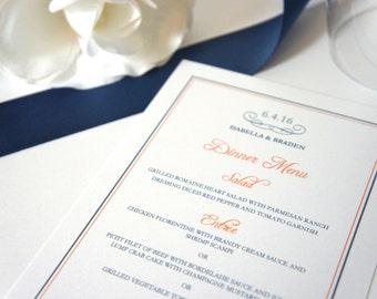 Orange Menu Card - Modern Wedding Menu Card, Modern Wedding Menus, Navy and Orange Wedding, Dinner Menu, Customized - DEPOSIT