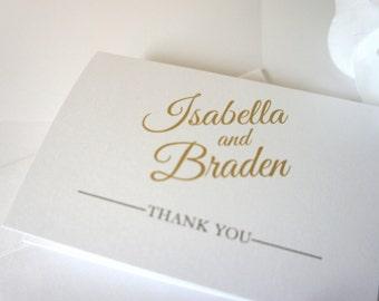 Gold Wedding Thank You Cards, Elegant Wedding Thank You Cards, Folded Thank You Card, Thank You Note, Gold Thank You Card - DEPOSIT