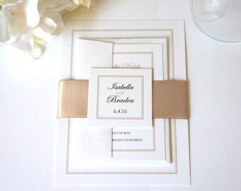 Luxury Wedding Invitations, Champagne Wedding Invitation, Elegant Wedding Invitations, Wedding Invites, Belly Band - SAMPLE SET